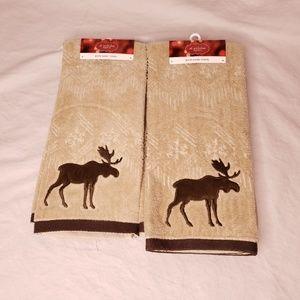 Bath Hand Towels Tan Brown Moose Set of 2 Rustic